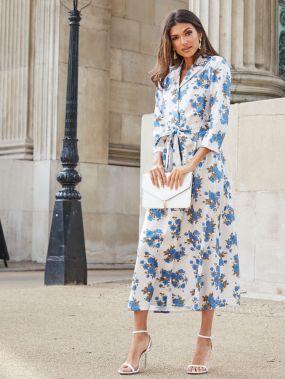 Платье-рубашка с цветочным принтом и поясом