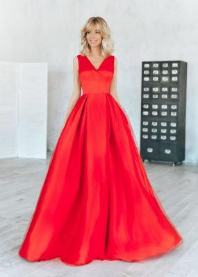 Красное атласное платье RB115B