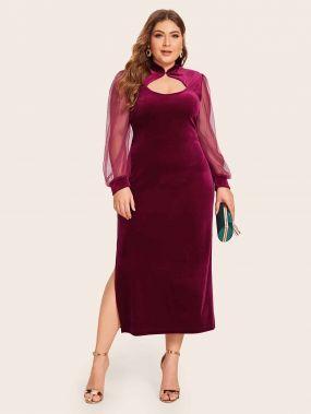 Бархатное платье размера плюс с сетчатым рукавом