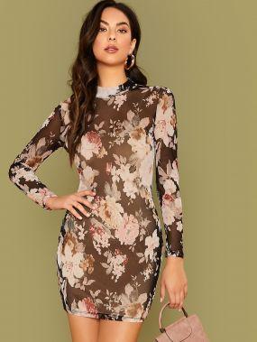Облегающее Сетчатое Платье С Цветочным Принтом