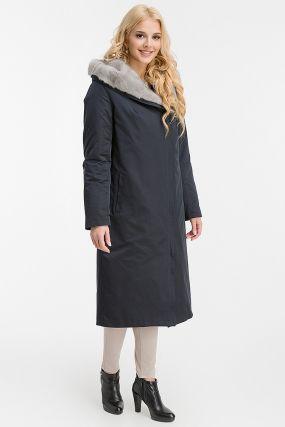 Зимнее пальто с норковым капюшоном