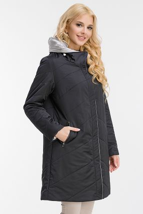 Утепленное пальто на тинсулейте с капюшоном