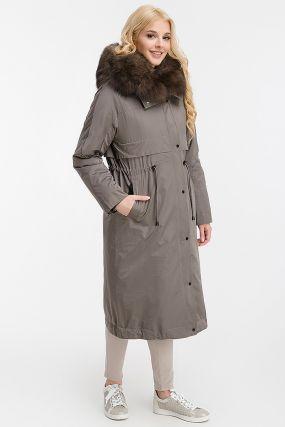 Модная парка-пальто на меху кролика + синтепон