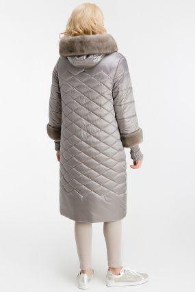 Стильное пальто на верблюжьей шерсти с норкой