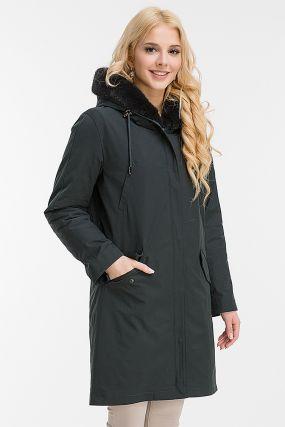 Пальто на меху до колена с теплым капюшоном