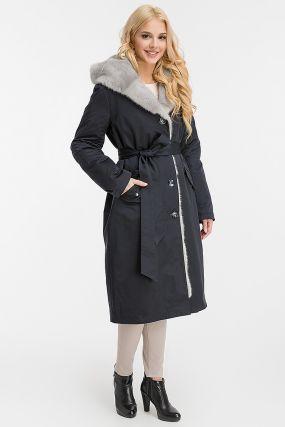 Классическое зимнее пальто на кролике с капюшоном