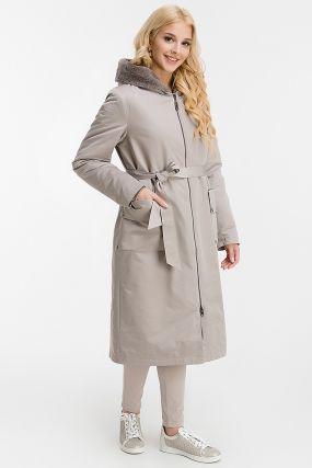 Длинное женское пальто на овчине с капюшоном