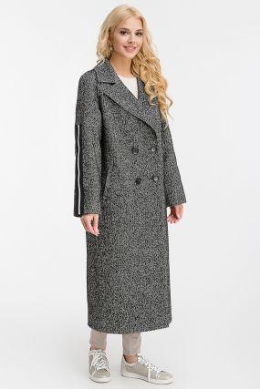 Двубортное длинное шерстяное пальто