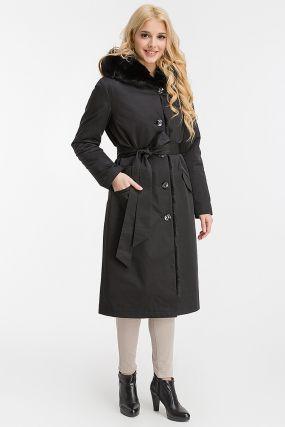 Длинное пальто на кролике для зимы из Италии