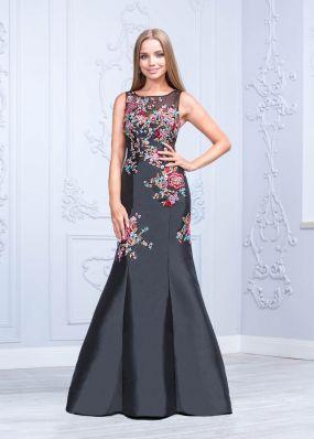 Расшитое в цветах платье со стразами CU027B