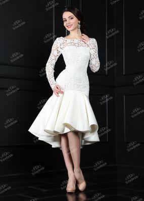 Короткое свадебное платье с юбкой переменной длины TB068Y1 o