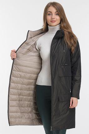 Женское пальто кокон с капюшоном Албана