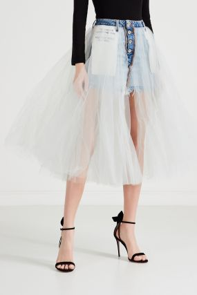 Комбинированная юбка из денима и тюля