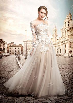 Бежевое свадебное платье в пол TB086Y1