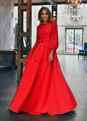 Нарядное красное платье с поясом MR043Bo