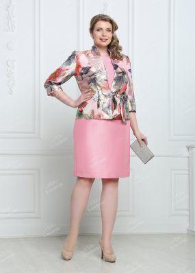 Шелковый костюм: блестящий пиджак и платье MR008BY1