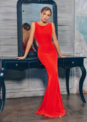 Красное бархатное платье с открытой спиной PS003BY1