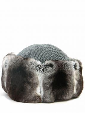 Кашемировая шапка с мехом