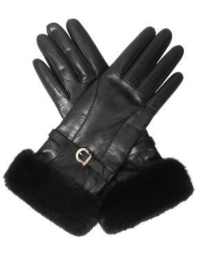 Перчатки кожаные с мехом норки