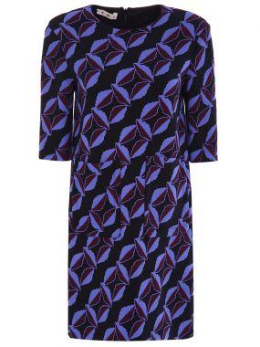 Шерстяное платье с принтом