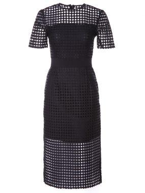 Платье-миди с вышивкой ришелье