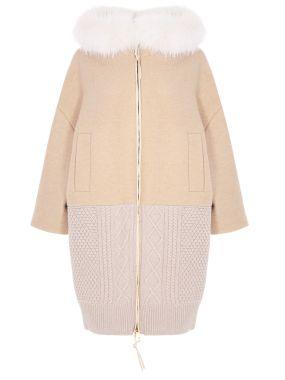 Пальто комбинированное с мехом