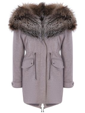 Пальто-парка с мехом лисы