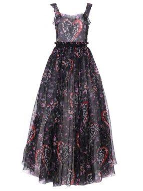 Платье шелковое с принтом