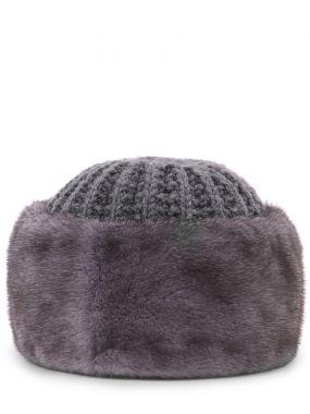 Вязаная шапка с мехом норки
