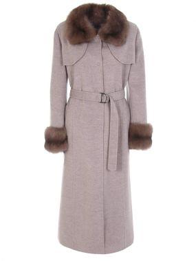Кашемировое пальто с соболем