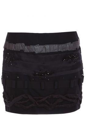 Шерстяная юбка-мини с декором
