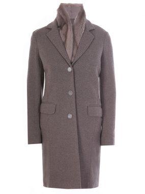 Пальто с жилетом из меха норки