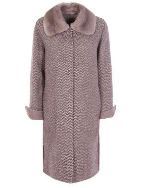 Твидовое пальто с мехом норки