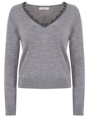 Шерстяной пуловер с кружевом