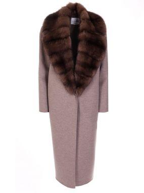Пальто классическое с соболем