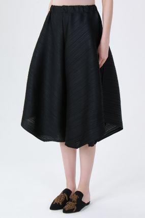 Черная плиссированная юбка-брюки