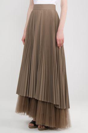 Гофрированная коричневая юбка в пол