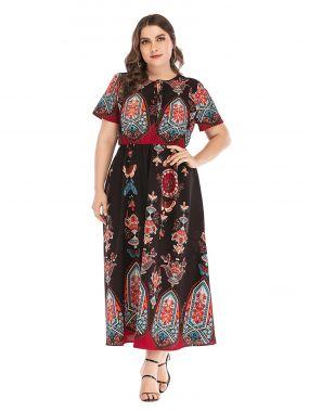 Платье с племенным принтом и узлом размера плюс