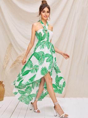 Асимметричное платье-халтер с разрезом