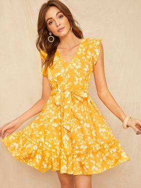 Платье с цветочным принтом и оборками