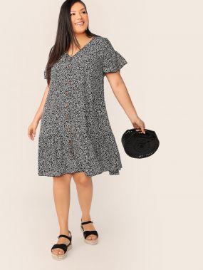 Платье с цветочным принтом, пуговицами и оригинальным рукавом размера плюс