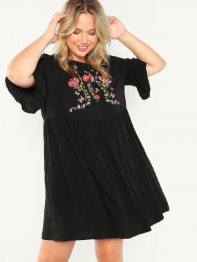 Плюс размеры Smock платье с вышивкой цветка
