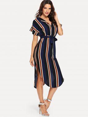 Платье рубашка с полосками