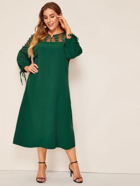 Размер плюс платье с v-образным вырезом и сетчатыми вставками
