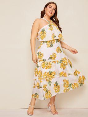 Многослойное платье размера плюс с цветочным принтом