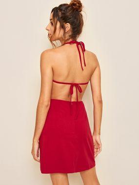 Красные Открытая спина Одноцветный Притягательный стиль Платья