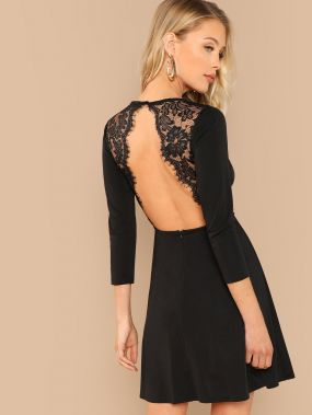 Контрастные кружева платье с открытой спиной