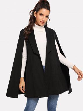 Пончо пальто с воротником шали