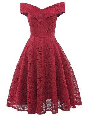 Кружевное платье клёш без бретелек