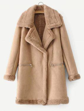 Кожаное пальто с подкладкой из искусственного шелка